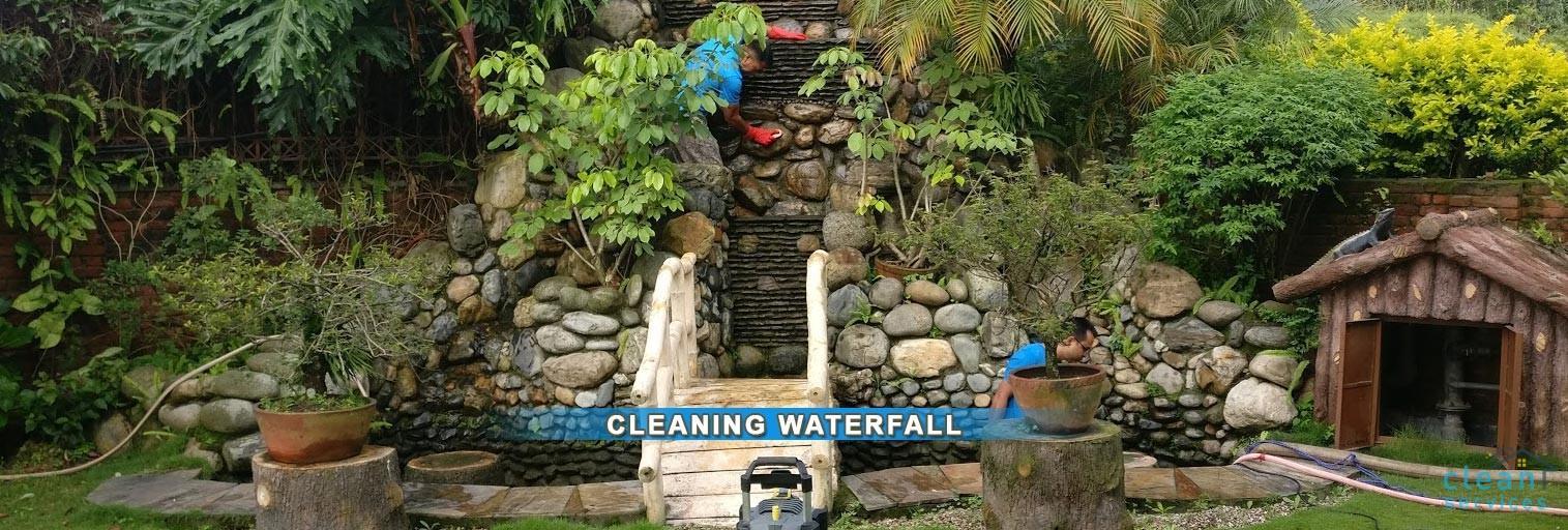 Garden waterfall pond cleaning service in Kathmandu, Nepal