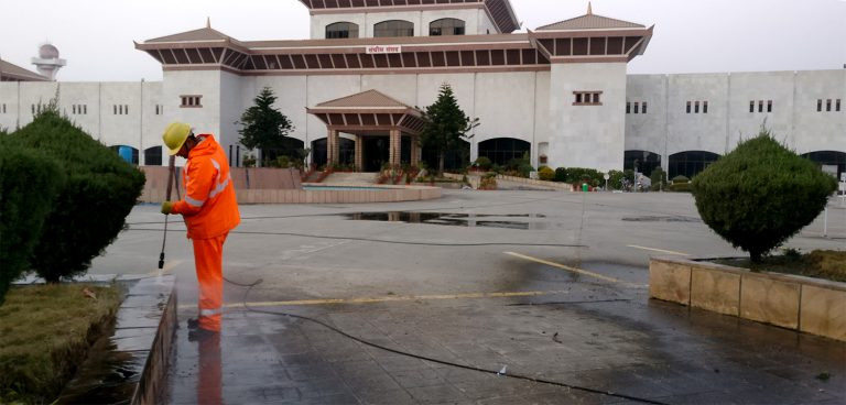outdoor-red-stone-cleaning-in-international-convention-center-nepal
