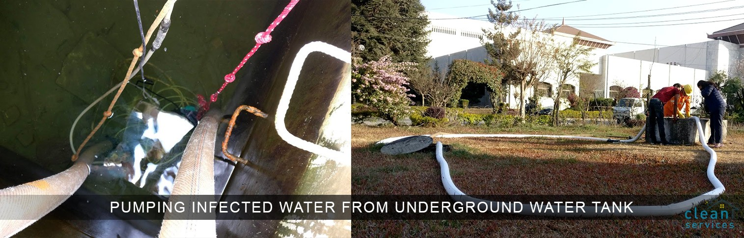 Underground water tank cleaning:- Process dewatering